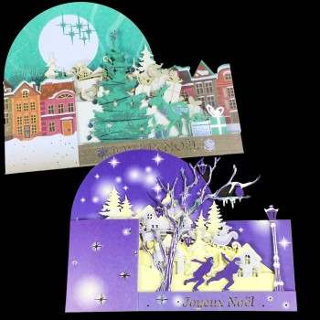 Lot de 2 Cartes 3D Joyeux Noël
