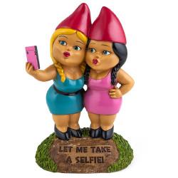 Nain de jardin soeurs selfie