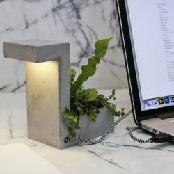 Lampe béton de bureau avec jardinière