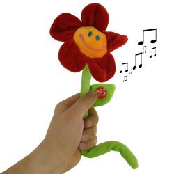 Fleur peluche musicale anniversaire 30 cm
