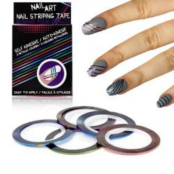 Rubans adhésifs Nail Art ongles rayés métalliques