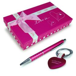 Coffret cadeau Maman stylo & porte-clé