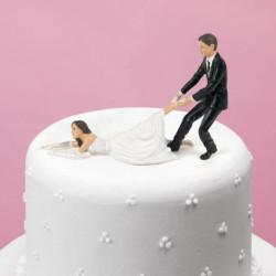 Figurines pour gâteau de mariage - Mariée réticente