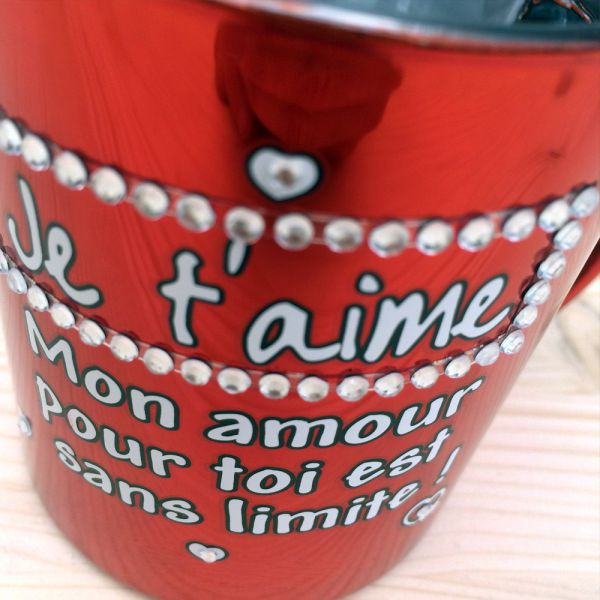 Mug strass m tallis je t 39 aime 7 55 for Decoration maison strass