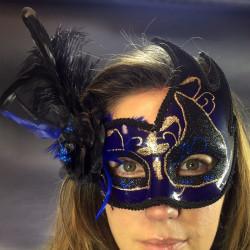 Masque vénitien loup à plumes
