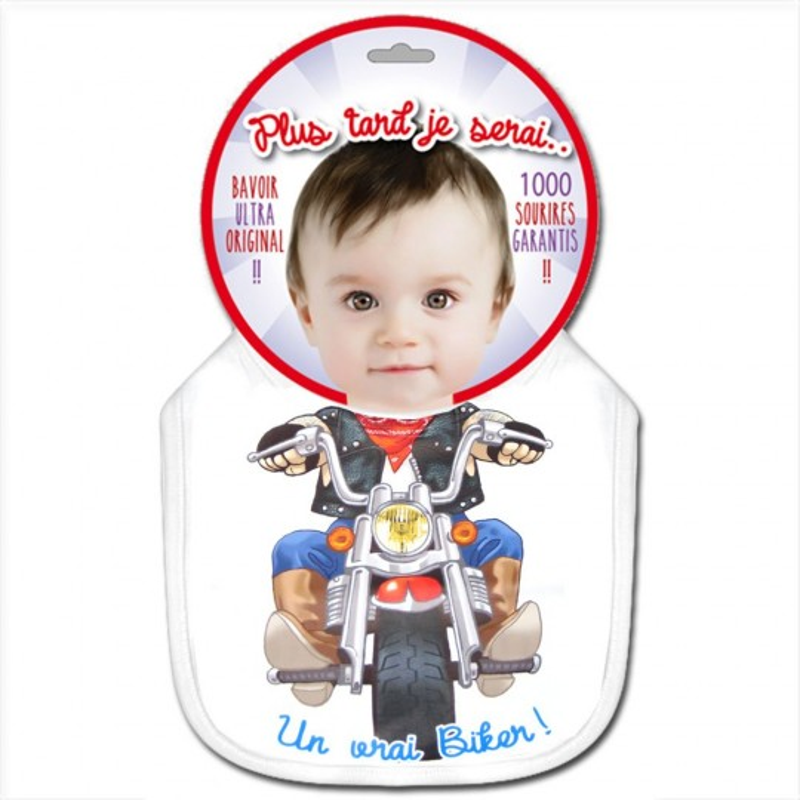 un bavoir pour bébé biker