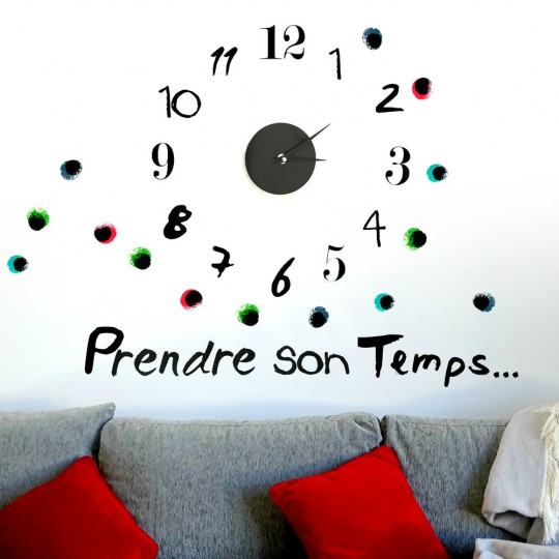 Sticker pendule, l'horloge adhésive