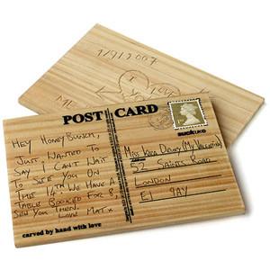 Vente Carte postale en bois à graver.