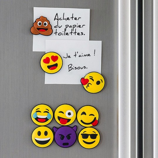 Lot de 9 magnets emoji