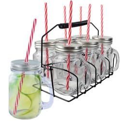 Panier présentoir 6 mugs bocaux avec paille
