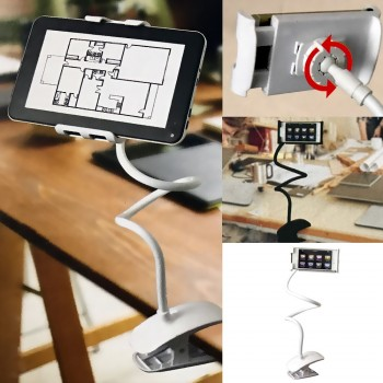 Porte tablette et smartphone flexible à pince