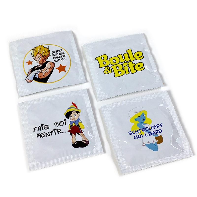 Lot de préservatifs humoristiques Fans de Dessins Animés