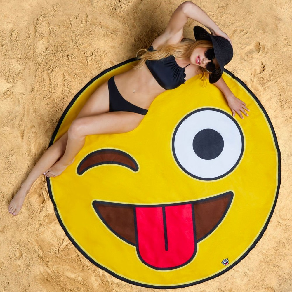 baignade serviette de plage g ante emoji smiley 29 90. Black Bedroom Furniture Sets. Home Design Ideas