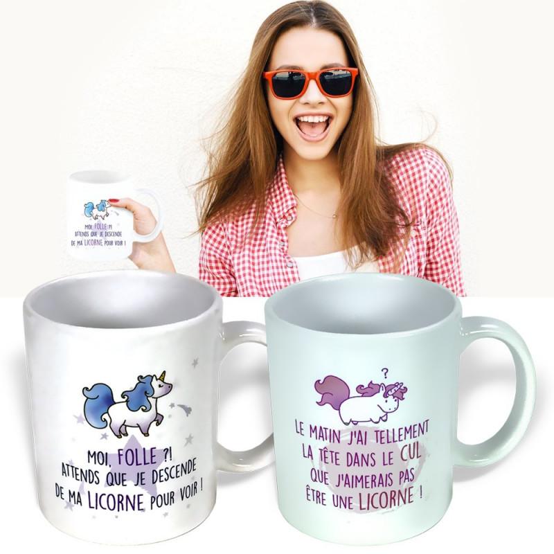 Set 2 mugs Humour Licorne