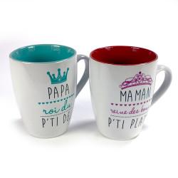 Coffret mugs Papa roi et Maman reine