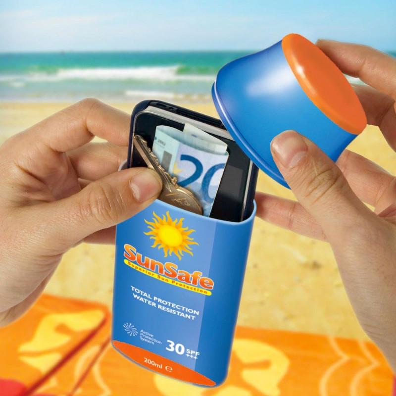 Tan Safe, étui cachette en forme de crème solaire