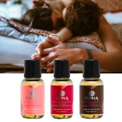 Coffret 3 huiles de massage aphrodisiaques et phéromones