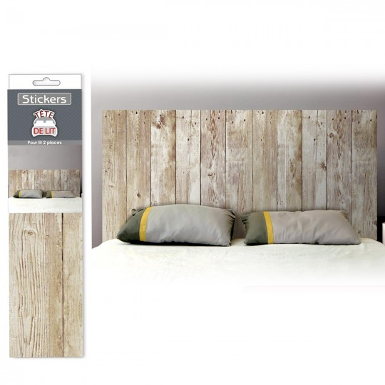 d co facile stickers t te de lit effet planches de bois. Black Bedroom Furniture Sets. Home Design Ideas