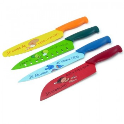 Ensemble design 4 couteaux décorés