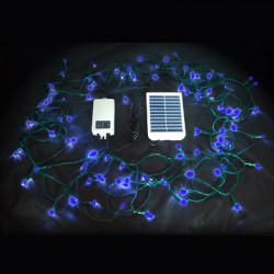 Guirlande autonome solaire 100 leds 10 mètres bleu glacial