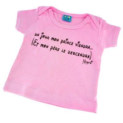 T-shirt 0-3 mois un jour mon prince viendra...