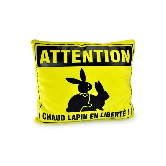 Coussin attention chaud lapin