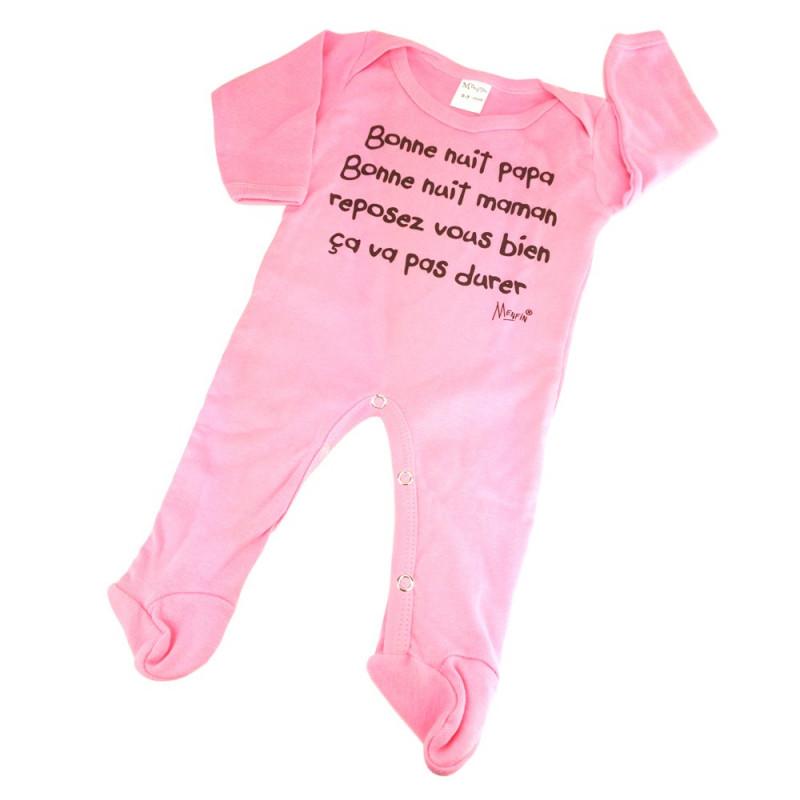 "Pyjama naissance rose ""bonne nuit... ça va pas durer !"""
