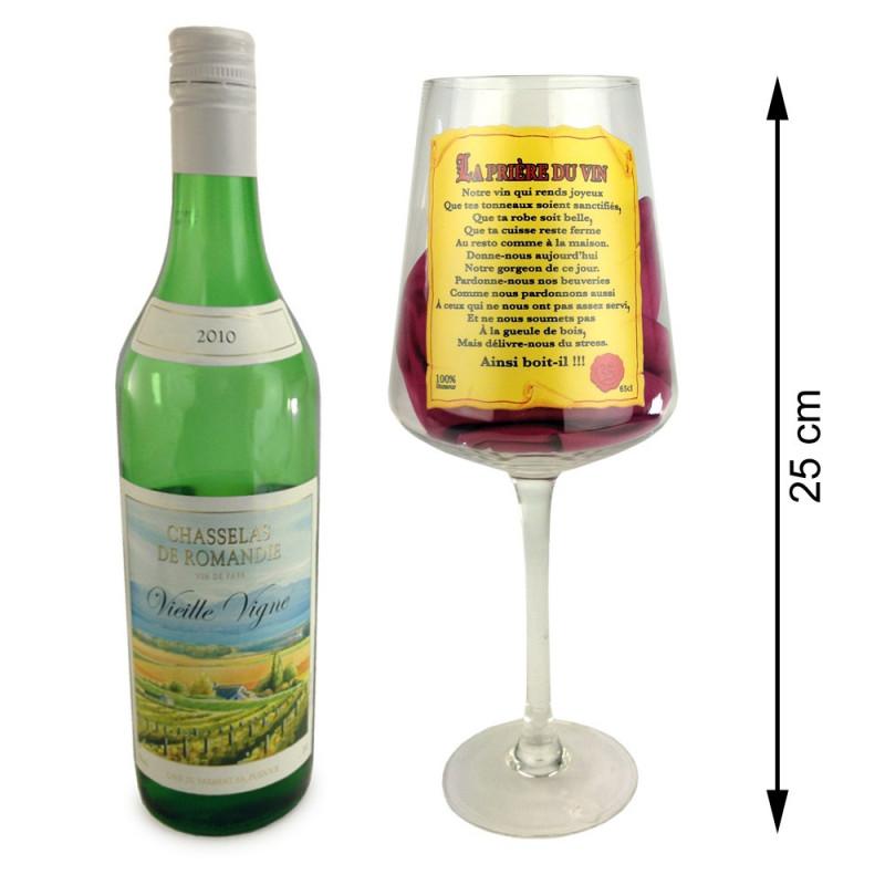 Verre géant à vin prière du vin 65cl