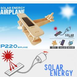 Avion biplan solaire puzzle en bois 3D