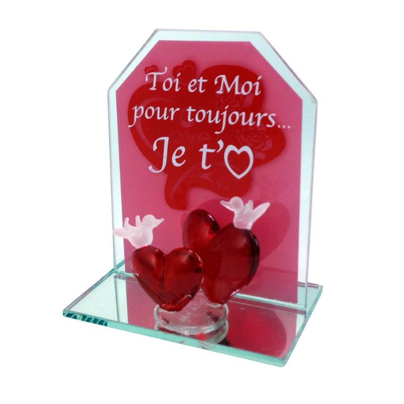 Coeurs et colombes en verre Je t'aime
