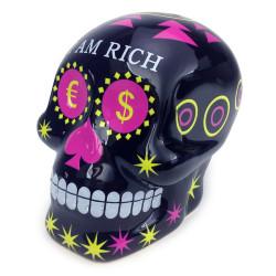 Tirelire Tête de mort Mexique I am Rich