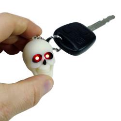 Porte-clés Tête de mort LED rire terrifiant