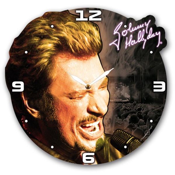 Horloge bois Johnny Hallyday