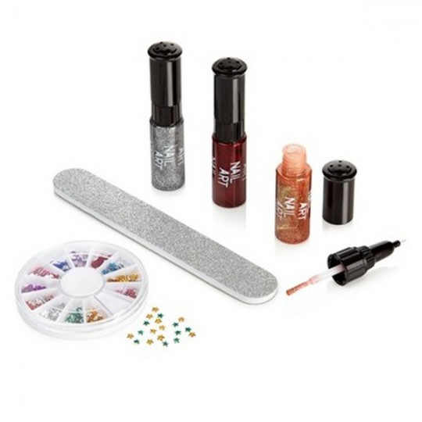Coffret cadeau pour les ongles Nail Art strass et paillettes