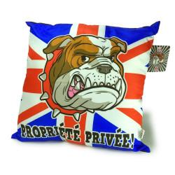 "Coussin London bulldog ""Propriété privée"""