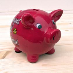 """Tirelire cochon """"Votre argent fait mon bonheur"""""""