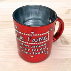 Mug strass métallisé Je t'aime
