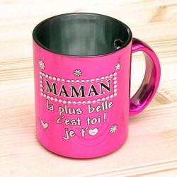 Mug métallisé strass MAMAN