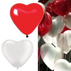 Ballons coeur Rouge et Blanc