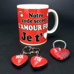 Coffret Love mug cadenas porte-clés