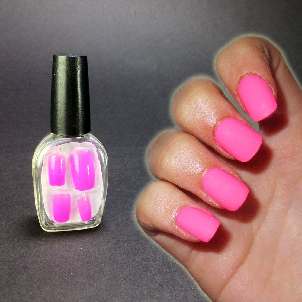 faux ongles rose fluo