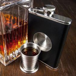 Flasque avec verre intégré