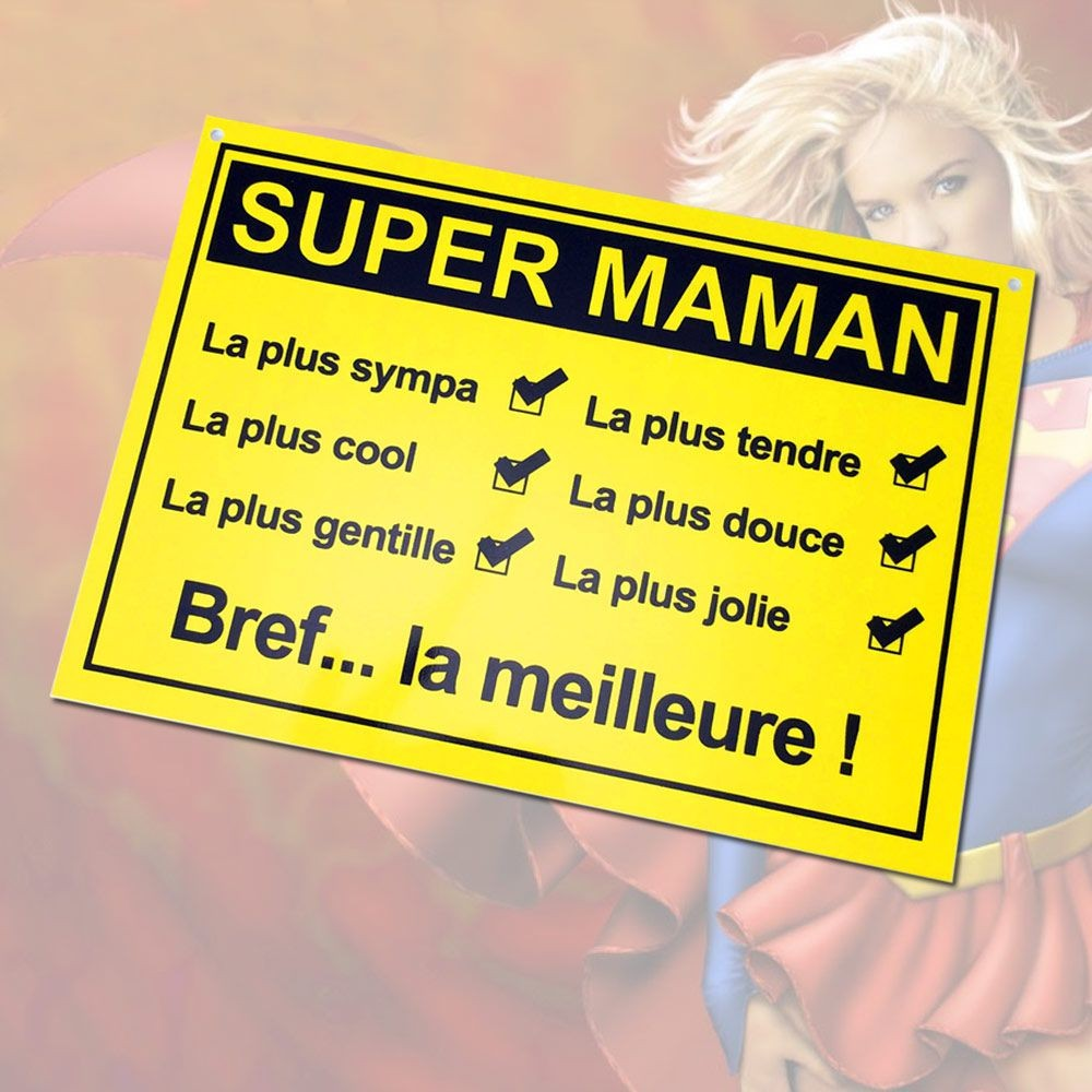 Plaque de porte Super Maman à 3 95