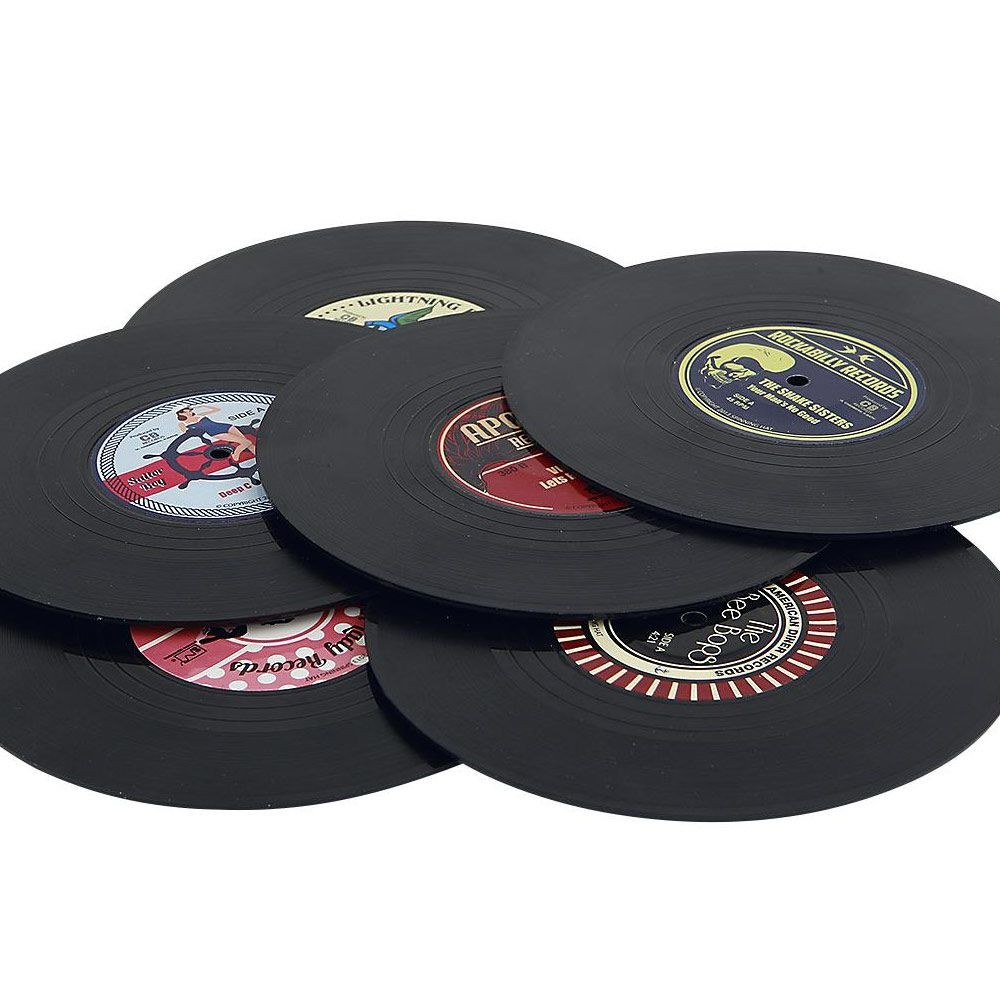 Set de 6 dessous de verre vinyl rockabilly 14 95 for Set de table pour table en verre