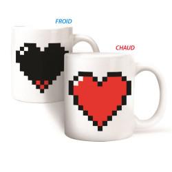 Mug coeur pixel chaud froid