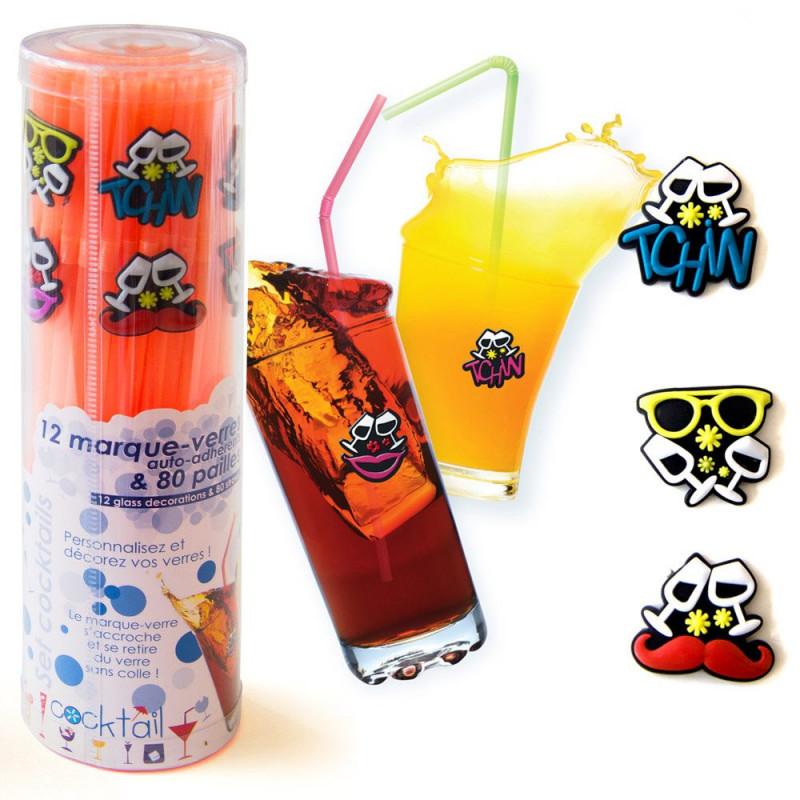 Set cocktail pailles et marque-verres